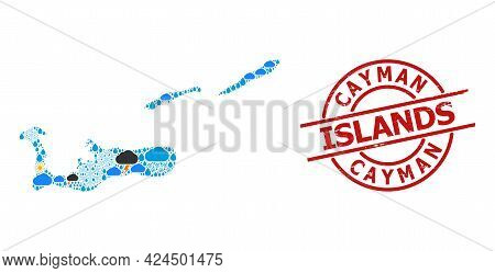 Climate Collage Map Of Cayman Islands, And Grunge Red Round Badge. Geographic Vector Collage Map Of