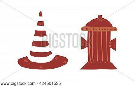 Cone And Flushing Hydrant As City Street Element Vector Set