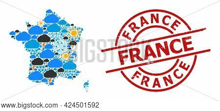 Climate Collage Map Of France, And Rubber Red Round Stamp Seal. Geographic Vector Collage Map Of Fra