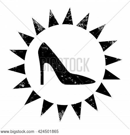 Exclusive Ladies Shoes Icon With Grunge Effect. Isolated Raster Exclusive Ladies Shoes Icon Image Wi