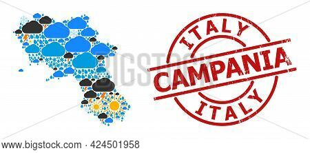 Weather Collage Map Of Campania Region, And Textured Red Round Stamp Seal. Geographic Vector Collage