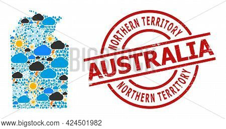 Climate Mosaic Map Of Australian Northern Territory, And Distress Red Round Seal. Geographic Vector