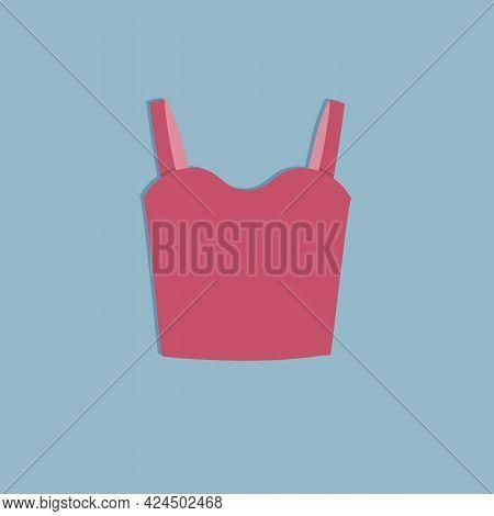 Cute Female Red Undershirt, T-shirt. Trendy Summer Look. Unisex Clothes Element. Template Modern Des