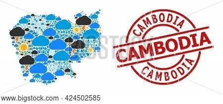 Weather Pattern Map Of Cambodia, And Scratched Red Round Seal. Geographic Vector Composition Map Of