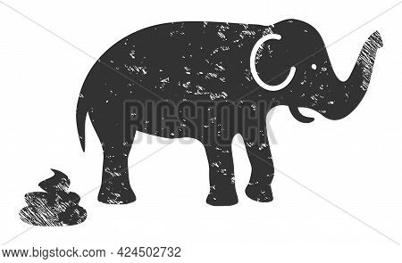 Elephant Shit Icon With Grunge Effect. Isolated Vector Elephant Shit Icon Image With Grunge Rubber T