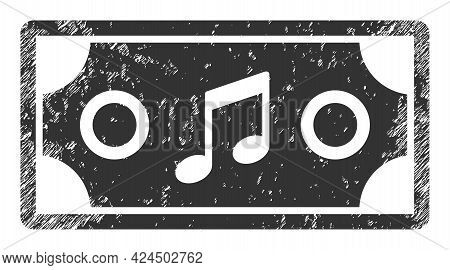 Concert Ticket Icon With Scratched Effect. Isolated Vector Concert Ticket Icon Image With Scratched