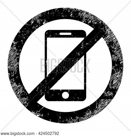 Stop Smartphone Icon With Scratched Style. Isolated Vector Stop Smartphone Icon Image With Unclean R