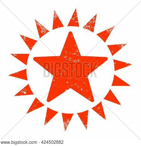 Star Shine Icon With Grunge Effect. Isolated Vector Star Shine Icon Image With Unclean Rubber Textur