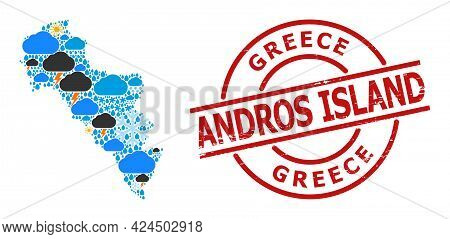 Climate Collage Map Of Greece - Andros Island, And Textured Red Round Stamp Seal. Geographic Vector