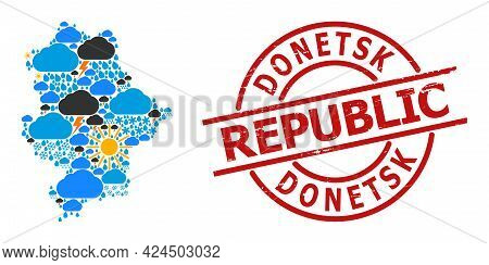 Climate Mosaic Map Of Donetsk Republic, And Grunge Red Round Seal. Geographic Vector Mosaic Map Of D