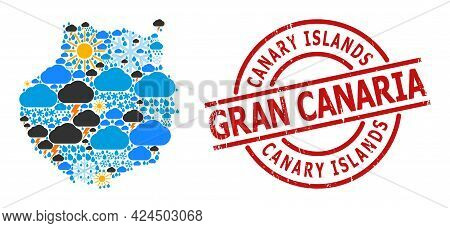 Climate Collage Map Of Gran Canaria, And Grunge Red Round Stamp. Geographic Vector Collage Map Of Gr