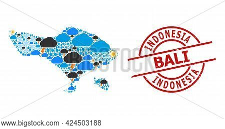 Weather Mosaic Map Of Bali Island, And Rubber Red Round Stamp. Geographic Vector Mosaic Map Of Bali