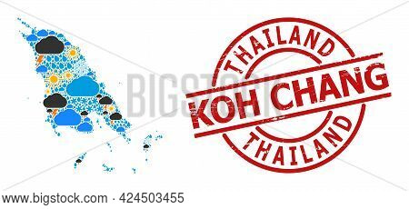 Weather Collage Map Of Koh Chang, And Grunge Red Round Stamp. Geographic Vector Composition Map Of K