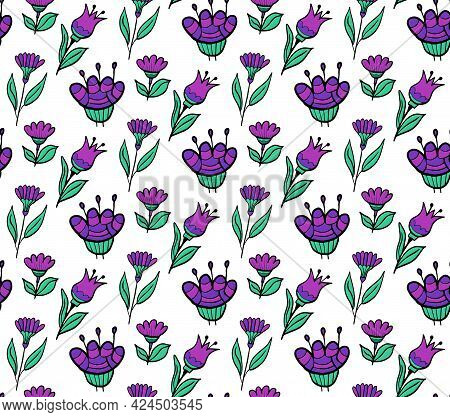 Purple Flowers Seamless Pattern. Floral Repeating Texture. Vector Illustration