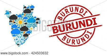 Climate Collage Map Of Burundi, And Textured Red Round Seal. Geographic Vector Collage Map Of Burund