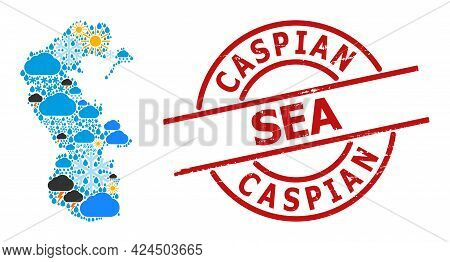 Climate Mosaic Map Of Caspian Sea, And Grunge Red Round Seal. Geographic Vector Mosaic Map Of Caspia
