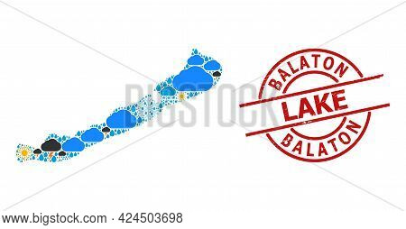 Weather Collage Map Of Balaton Lake, And Textured Red Round Seal. Geographic Vector Mosaic Map Of Ba