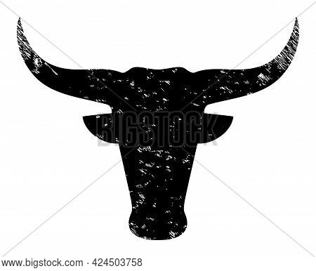 Bull Head Icon With Scratched Effect. Isolated Vector Bull Head Icon Image With Grunge Rubber Textur