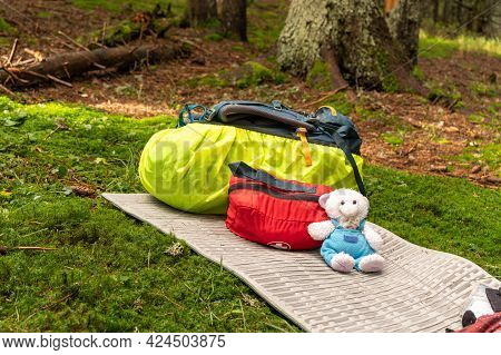 Camping Safety. Tourism With A First Aid Kit. Tourist Trips With Medicines. Travel Backpack And Firs