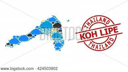Weather Mosaic Map Of Koh Lipe, And Textured Red Round Stamp. Geographic Vector Mosaic Map Of Koh Li