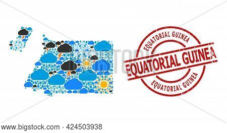 Weather Collage Map Of Equatorial Guinea, And Distress Red Round Stamp. Geographic Vector Collage Ma