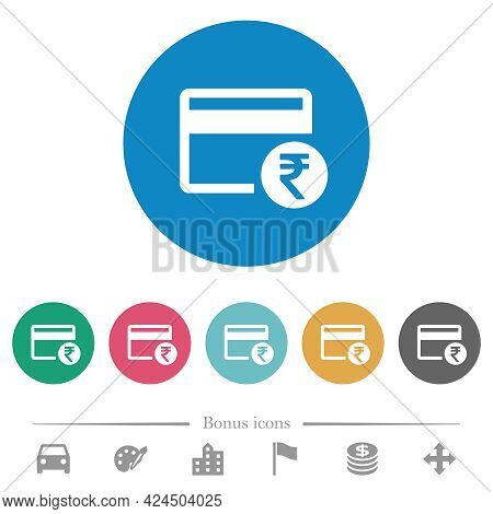 Rupee Credit Card Flat White Icons On Round Color Backgrounds. 6 Bonus Icons Included.
