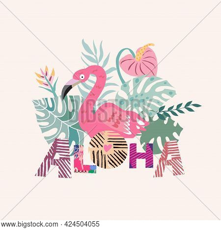 Tropical Flowers Background. Aloha- Text  Lettering. Summer Design Elements In Flat Cartoon Style. F