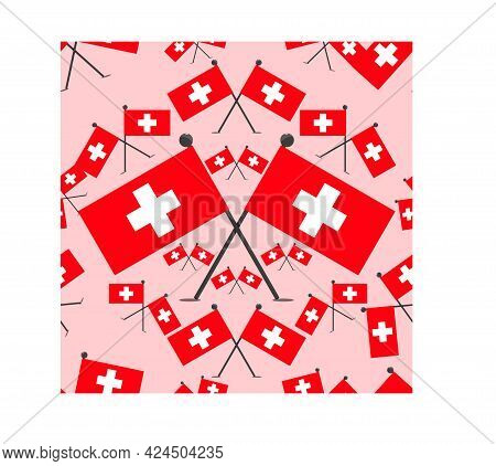 Vector Illustration Of Pattern Swiss Flags And Pink Colors Background.