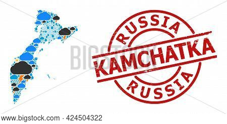 Climate Collage Map Of Kamchatka Peninsula, And Rubber Red Round Seal. Geographic Vector Composition