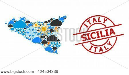 Climate Collage Map Of Sicilia Island, And Scratched Red Round Seal. Geographic Vector Collage Map O