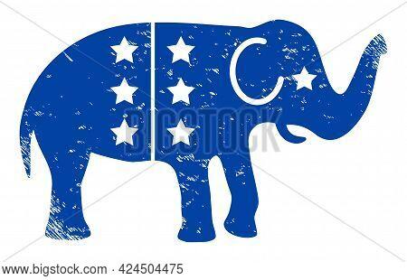 American Democratic Elephant Icon With Scratched Effect. Isolated Vector American Democratic Elephan