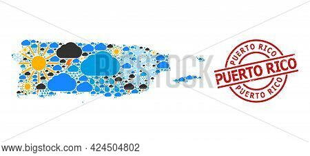 Climate Collage Map Of Puerto Rico, And Textured Red Round Seal. Geographic Vector Collage Map Of Pu