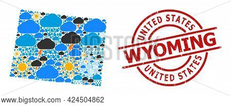 Weather Pattern Map Of Wyoming State, And Rubber Red Round Seal. Geographic Vector Collage Map Of Wy
