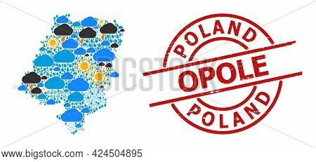 Weather Mosaic Map Of Opole Province, And Grunge Red Round Badge. Geographic Vector Collage Map Of O