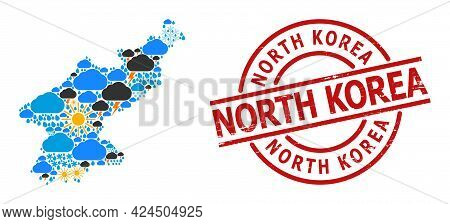 Weather Mosaic Map Of North Korea, And Grunge Red Round Badge. Geographic Vector Mosaic Map Of North