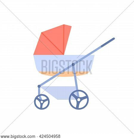 Flat Baby Carriage Color Icon. Newborn Care Element Design. Modern Outdoor Walking Stroller Vector I