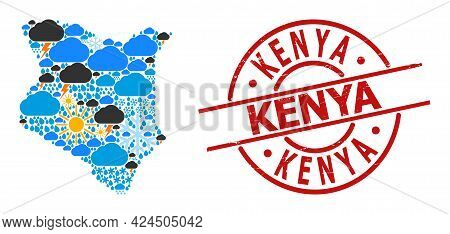 Climate Collage Map Of Kenya, And Textured Red Round Badge. Geographic Vector Collage Map Of Kenya I