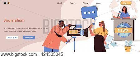 Journalism Web Concept. Tv Show Recording, News Program, Journalist Reporting Scene. Banner Template