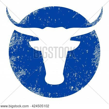 American Cow Logo Icon With Scratched Effect. Isolated Vector American Cow Logo Icon Image With Scra