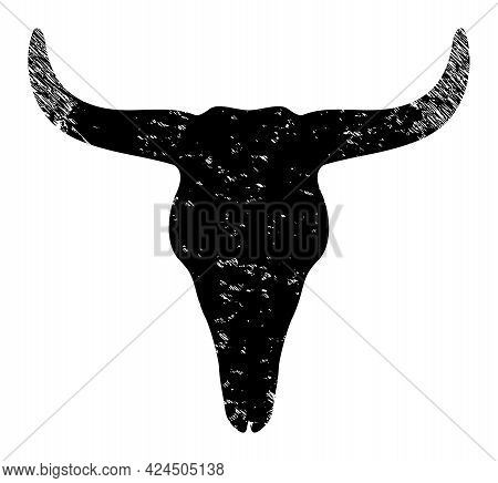 Dead Bull Head Icon With Grunge Style. Isolated Vector Dead Bull Head Pictogram With Grunge Rubber T