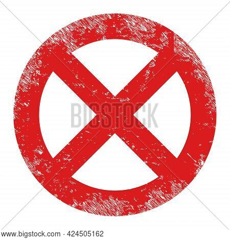 Restrict Icon With Scratched Effect. Isolated Vector Restrict Icon Image With Unclean Rubber Texture