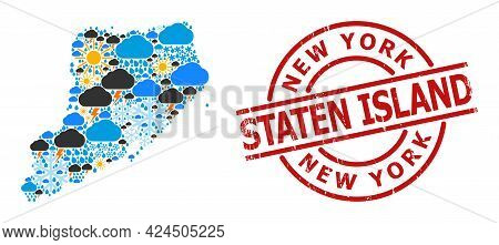 Weather Collage Map Of Staten Island, And Scratched Red Round Seal. Geographic Vector Composition Ma