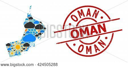Weather Collage Map Of Oman, And Rubber Red Round Seal. Geographic Vector Collage Map Of Oman Is Com