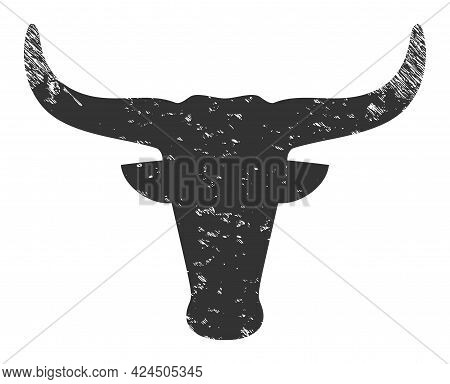 Cow Head Icon With Scratched Style. Isolated Vector Cow Head Icon Image With Scratched Rubber Textur