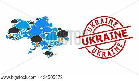 Weather Mosaic Map Of Ukraine, And Rubber Red Round Seal. Geographic Vector Composition Map Of Ukrai