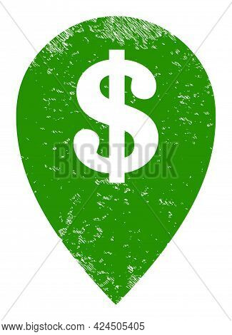 Bank Map Marker Icon With Grunge Effect. Isolated Vector Bank Map Marker Pictogram With Grunge Rubbe