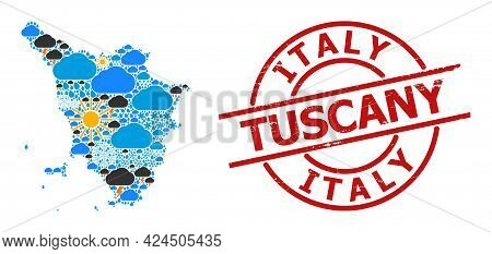 Weather Collage Map Of Tuscany Region, And Textured Red Round Badge. Geographic Vector Collage Map O