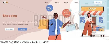 Shopping Web Concept. Buyers Make Purchases In Stores, Buying Clothes On Sale Scene. Banner Template