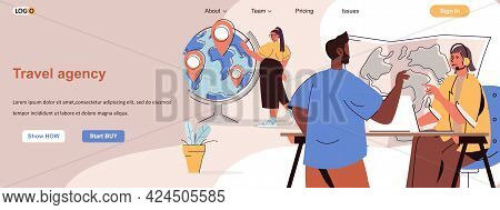 Travel Agency Web Concept. Operator Helps Client To Choose Tourist Tour At Map Scene. Banner Templat