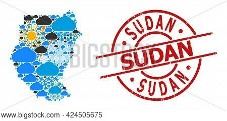 Climate Mosaic Map Of Sudan, And Textured Red Round Stamp Seal. Geographic Vector Mosaic Map Of Suda